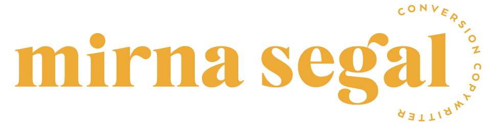 yellow logo for Mirna Segal Copywriting